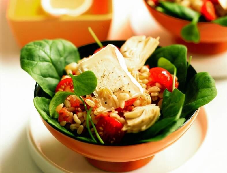 Salade de pousses d'épinards, blé et Caprice des dieux
