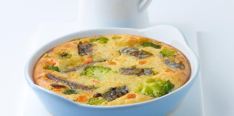 Clafoutis de maquereaux marinés au muscadet et brocolis