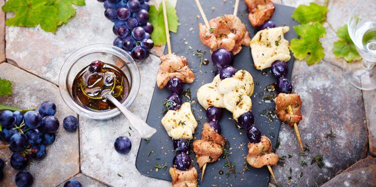 Brochettes d'aiguillettes de canard et de poulet au muscat du Ventoux