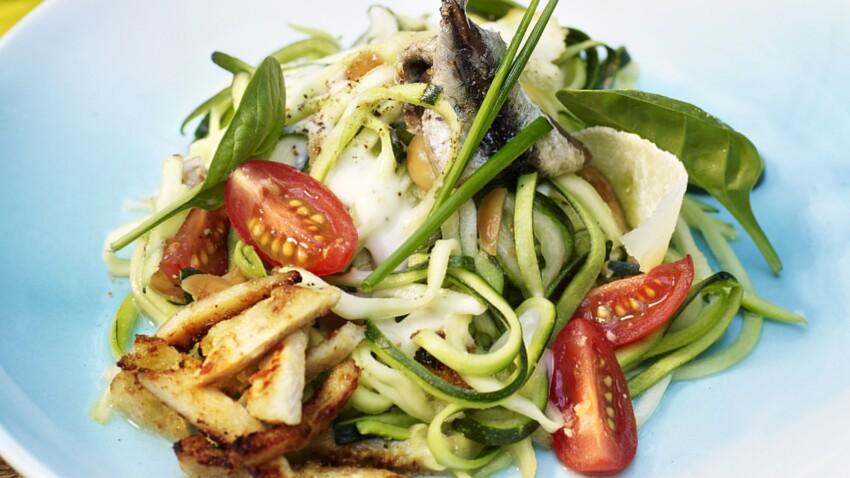 Salade de courgettes crues et herbes façon César