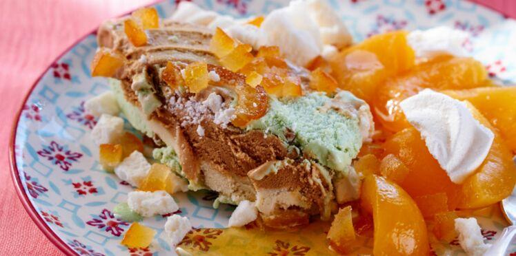 Trio de saveurs glacées & salade d'abricots pochés au miel et gingembre