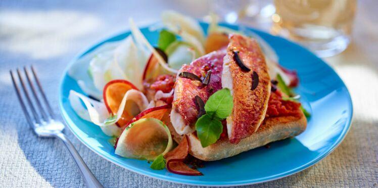 Ciabattines aux rougets et salade anisée