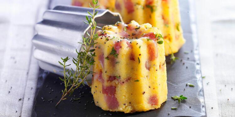 Cannelés de polenta au jambon et 3 fromages