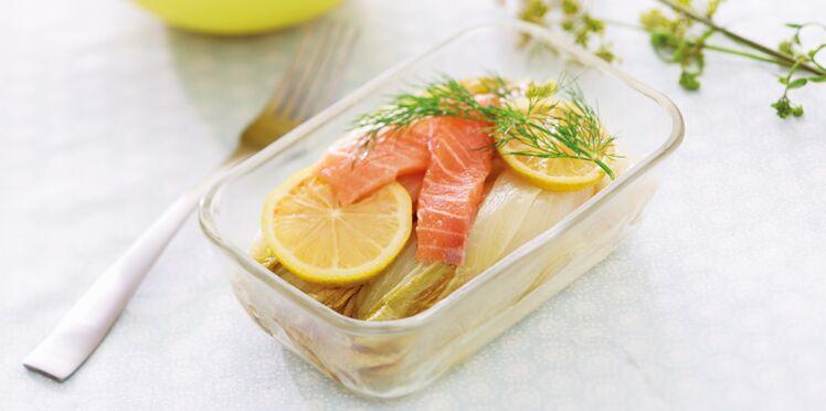 Endives braisées et saumon mariné