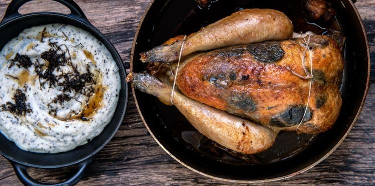 Volaille à la truffe rôtie, purée de pomme de terre à la truffe, de Bruno Doucet