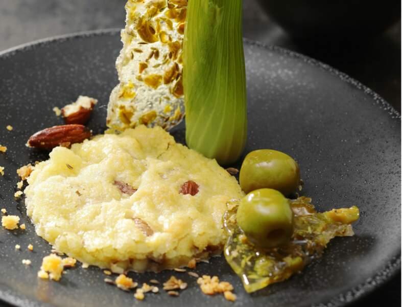 Sablé au fenouil confit et nougatine d'olives vertes