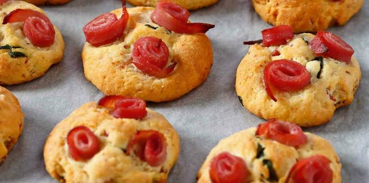 Cookies salés au jambon, basilic, parmesan
