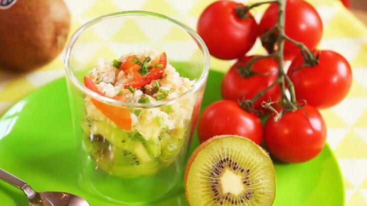 Vidéo : la recette des verrines au crabe et kiwis