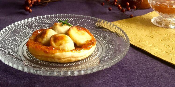 Tartelette croustillante au boudin blanc, confiture d'abricot et pain d'épices