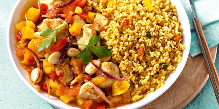 Tajine de poulet aux abricots secs et petits légumes