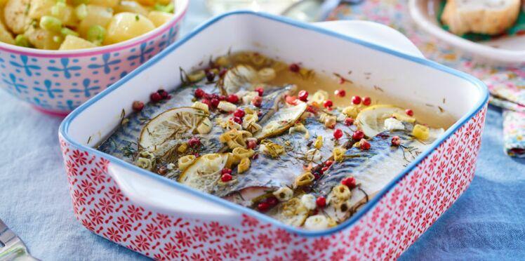 Maquereaux aux baies roses & salade de pommes de terre nouvelles