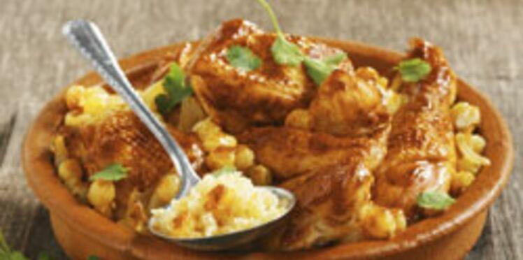 Tajine de poulet au miel et semoule à la cannelle