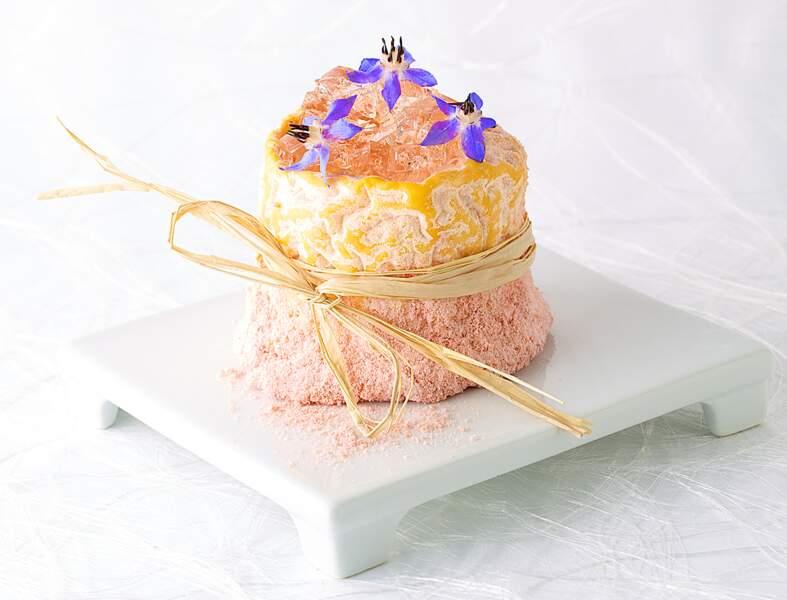 Fromage de Langres fondant en gelée de champagne rosé poudré de biscuit de Reims