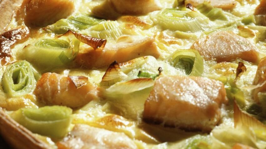 Tarte aux poireaux, saumon et crevettes