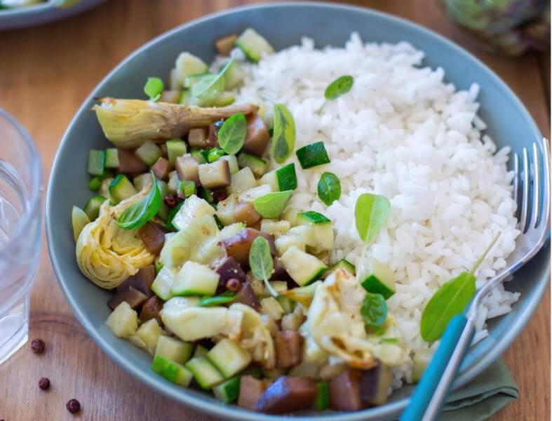 Riz végétarien aux légumes grillés