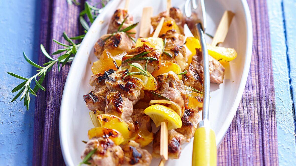 Brochettes de mignon de porc au miel