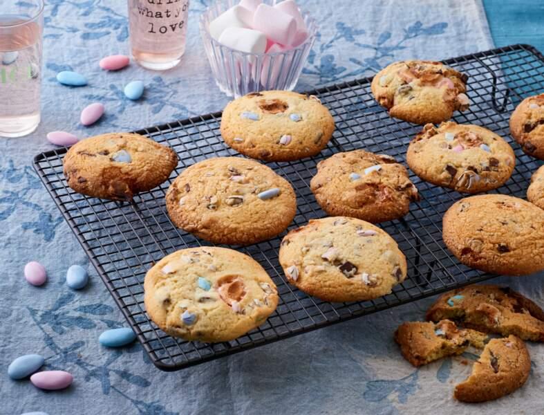 Cookies de printemps au chocolat, dragées et chamallows