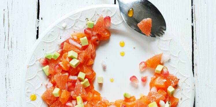 Tartare de saumon et pamplemousse de floride