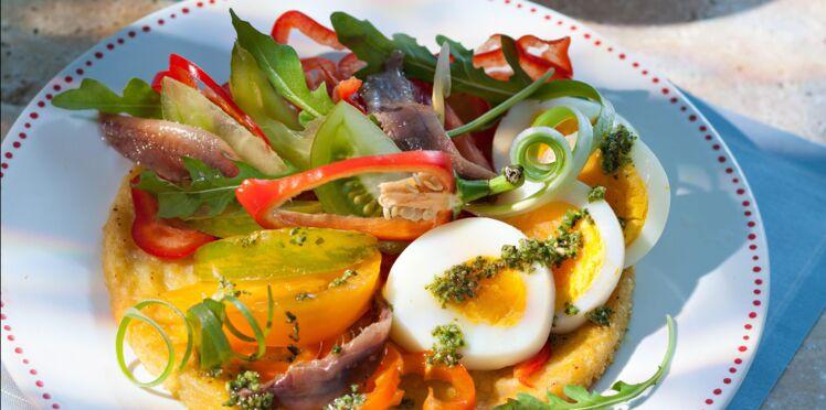 Panisse grillée et sa salade fraîche