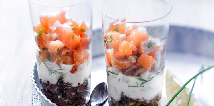 Verrines de tartare de saumon au quinoa noir