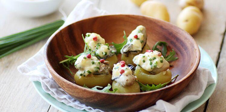 Pommes de terre grenaille farcies aux huîtres