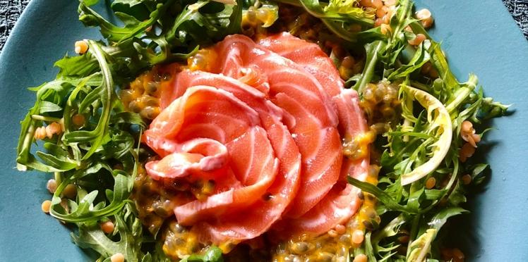 Carpaccio de saumon au fruit de la passion