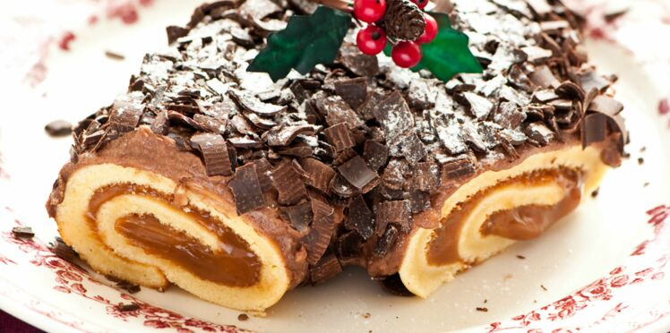 Bûche de Noël au chocolat et crème de marrons