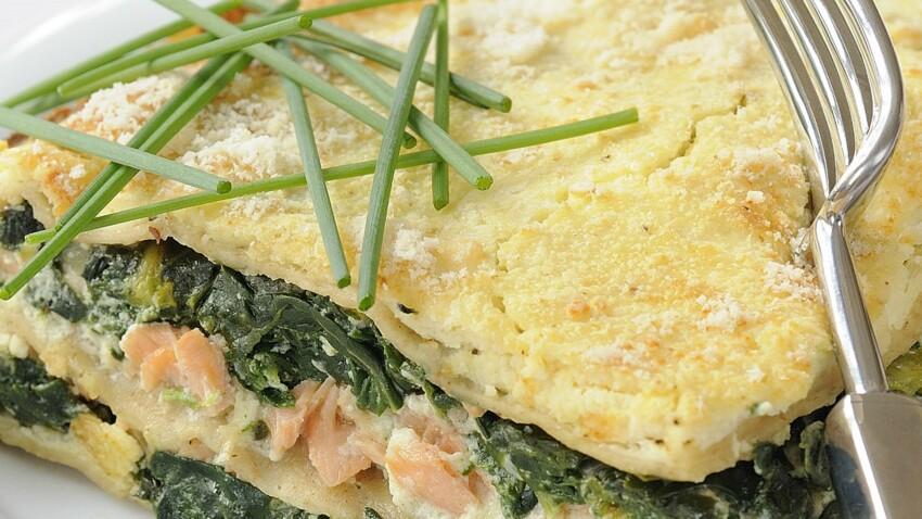 Lasagnes au saumon fumé, épinards et mascarpone