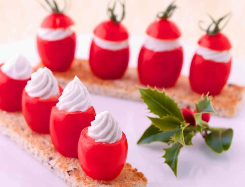 Mini-tomates farcies de Société à Tartiner, mouillettes de pain aux céréales