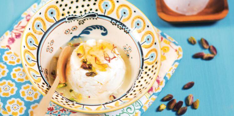 Recette rapide : faisselles au safran et aux pistaches