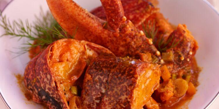 Fricassée de homard au rhum et kari gosse