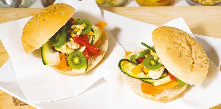Buns végétariens légumes, mini-kiwis Nergi et fromage frais