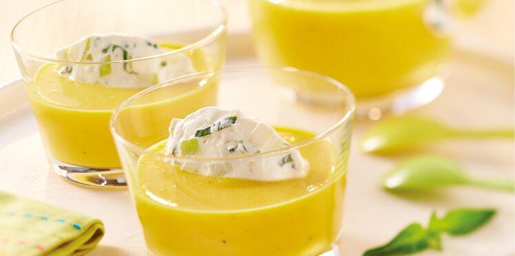 Gaspacho de poivrons jaunes et pommes Granny Smith