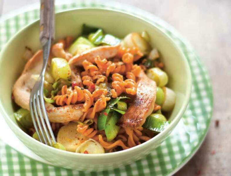Wok de poulet, poireaux et torsades aux lentilles corail