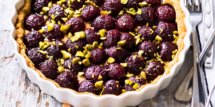 Tarte pistaches et cerises