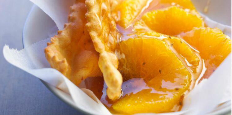 Bugnes à la salade d'orange et au miel