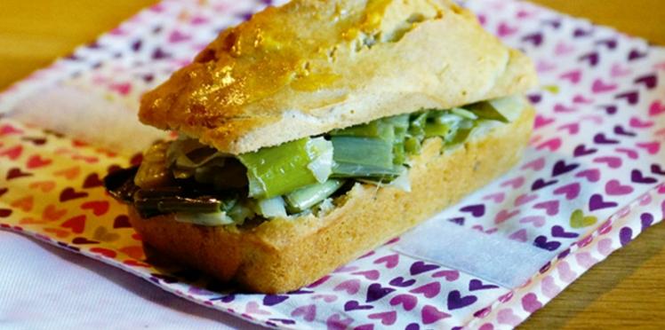Sandwich à la fondue de poireaux