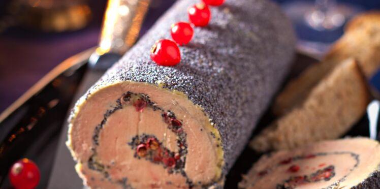 Bûche de foie gras au pavot et baies roses