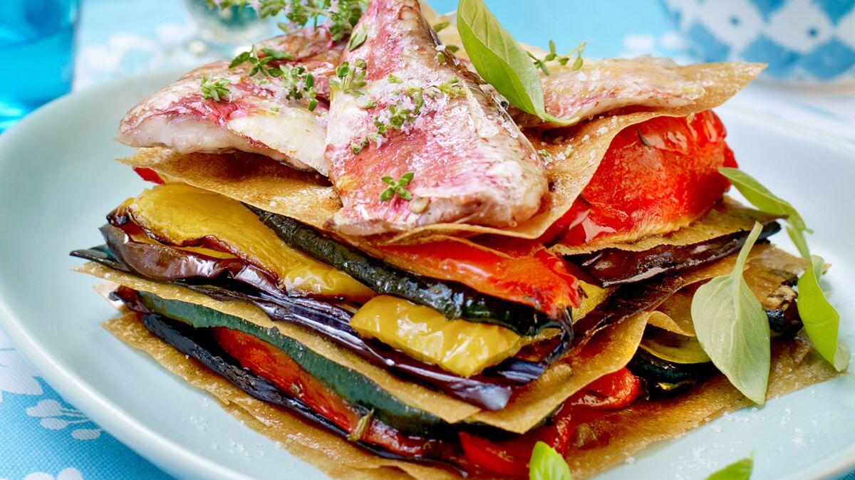 Millefeuille de légumes et rougets au pesto