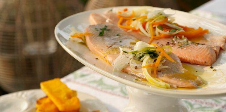 Truite saumonée au court-bouillon