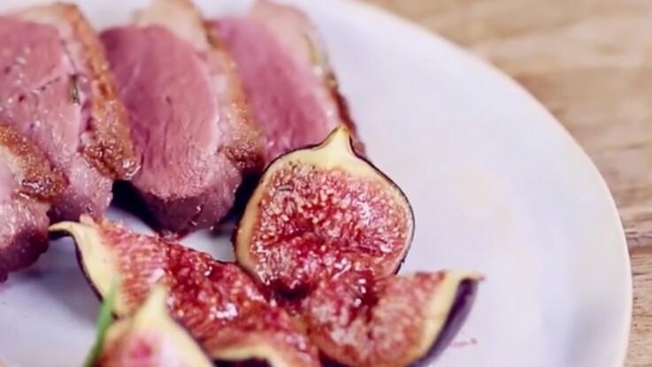 Vidéo : la recette du magret de canard et ses figues rôties