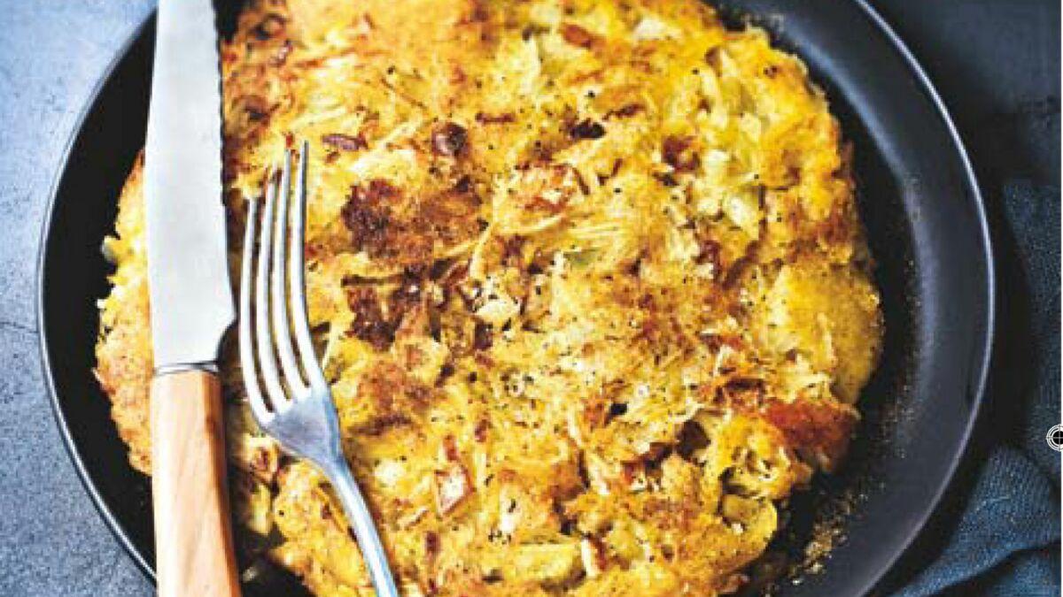 Galette de pommes de terre, oignon, fenouil et cumin