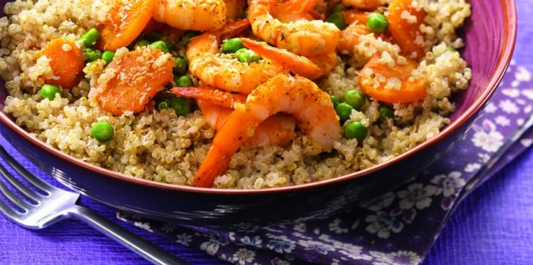 Quinoa à la noix de coco et crevettes au curry