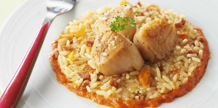 Riz à poêler chorizo et tomate séchées - Noix de St-Jacques sauce poivron rouge