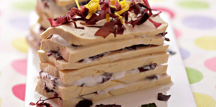 Millefeuilles de tofu au tartare d'algues