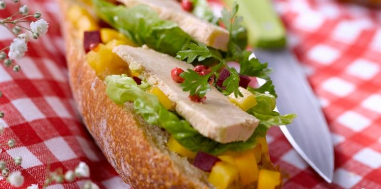 Tartines au foie gras, betterave et mangue