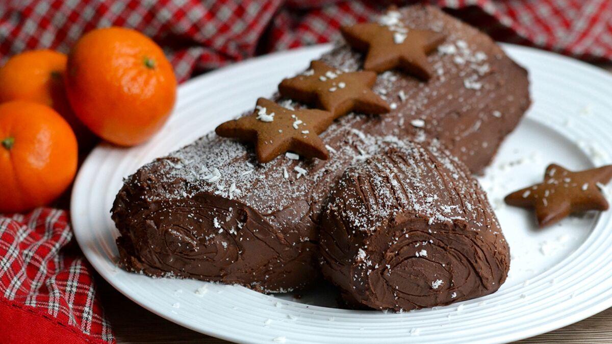 Bûche de Noël au super-cacao et sans gluten