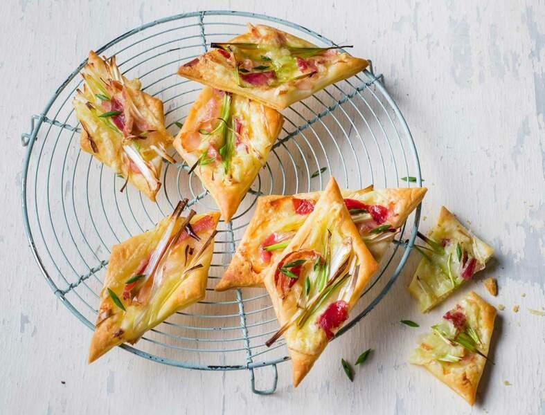 Feuilletés de poireaux pancetta et Raclette RichesMonts