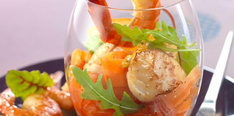 Brochettes de crevettes et noix de Saint-Jacques