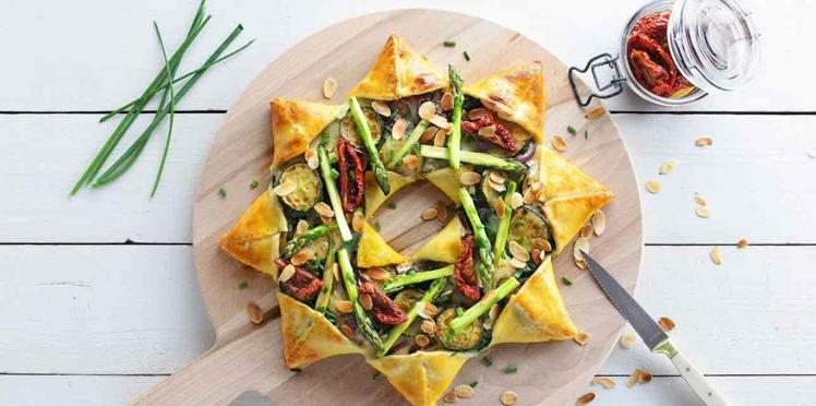 Pizza soleil primavera, asperges, épinards, courgettes